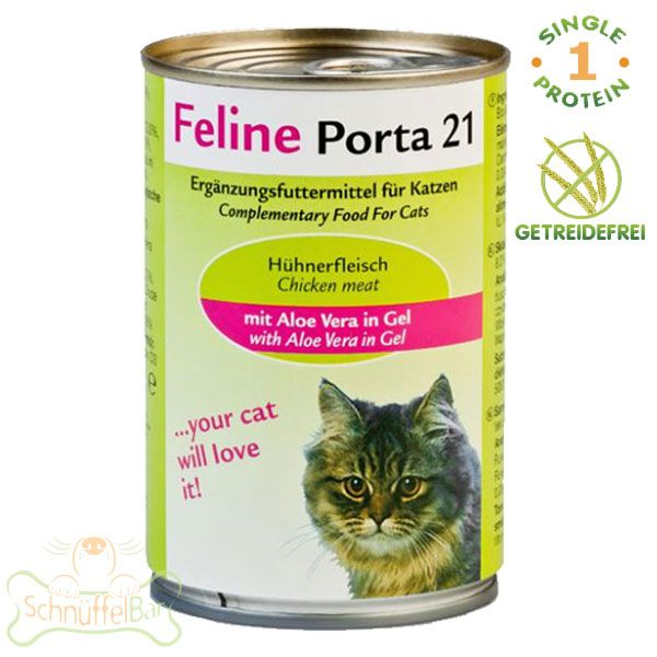 feline porta 21 huhn mit aloe vera 400g schn ffelbar nat rliches futter f r hunde katzen. Black Bedroom Furniture Sets. Home Design Ideas